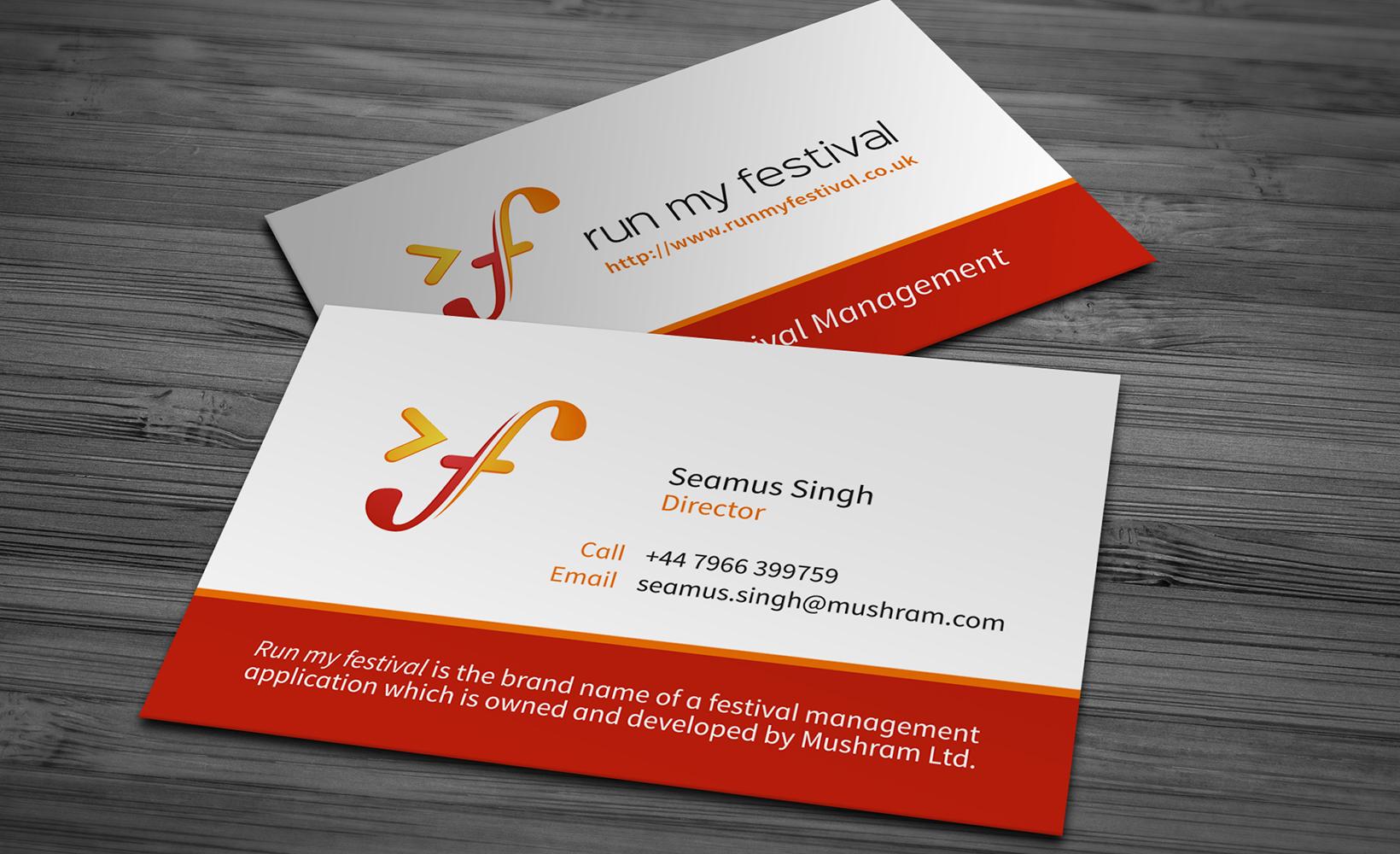 Print design bigbluecurrant run my festival business card design reheart Images